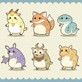 Retro cute animals set vector illustration Stock Photo