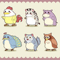 Retro cute animals set vector illustration Royalty Free Stock Image