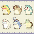 Retro cute animals set vector illustration Royalty Free Stock Photos