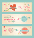 Retro cute happy mothers day banners set vintage cut vector illustration layered for easy manipulation and custom coloring Royalty Free Stock Image