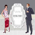 Retro dancing background. Couple on party (1930s style) Royalty Free Stock Photo