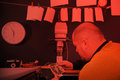 Retro darkroom in the red light Royalty Free Stock Photo