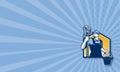 Retro de emmer van portiercleaner holding mop Stock Afbeelding