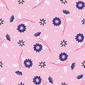 Retro delicate floral daisies seamless pattern. All over print vector background. Pretty summer 1950s fashion style. Trendy
