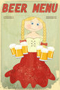 Retro Design Beer Menu - blond girl with beer Royalty Free Stock Photo
