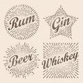 Retro design sunburst, radiant starburst for beer and alcohol