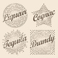 Retro design sunburst, radiant starburst for brandy and alcohol.