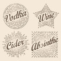 Retro design sunburst, radiant starburst for vodka wine cider an