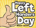 Retro Design with Thumb Up for International Left Handers Day, Vector Illustration