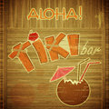 Retro Design Tiki Bar Menu on wooden background Stock Photos