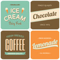 Retro designs collection a set of four packaging for coffee ice cream chocolate and lemonade Royalty Free Stock Images