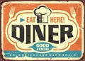 Retro diner restaurant tin sign design Royalty Free Stock Photo