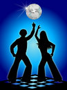 Retro Disco Dancers Blue/eps Stock Photography