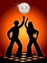 Retro Disco Dancers Orange Royalty Free Stock Photo