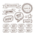 Retro discount labels set vintage for sale vector collection Stock Photography