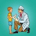 Retro doctor bandaging boy injured arm