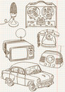 Retro doodle set Obraz Royalty Free