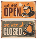 Retro door signs for coffee shop or cafe bar vintage metal creative template with cup on rusty old texture creative Stock Photo