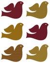 Retro dove set isolated on white ( brown ) Royalty Free Stock Photo