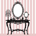 Retro dressing console, candelabra and mirror Royalty Free Stock Photography