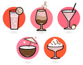 Retro drinks set Stock Images