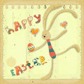 Retro Easter Card with Bunny Stock Photography