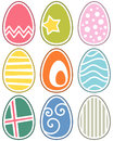 Retro Easter Eggs Set Royalty Free Stock Images