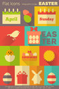 Retro easter labels collection in flat design style mobile ui style illustration Stock Photography