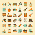 Retro education icons set back to school cartoon vector illustration Stock Photo