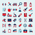 Retro education icons set back to school cartoon vector illustration Stock Image
