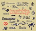 Retro elements for Summer calligraphic designs Royalty Free Stock Photo