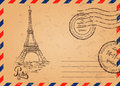 Retro envelope with stamps, Eiffel Tower Royalty Free Stock Photo
