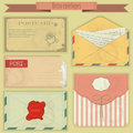 Retro envelopes and postcards Royalty Free Stock Photos