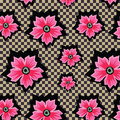 Retro exotic pink flowers on checkered background pattern Royalty Free Stock Photo