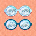 Retro eyeglasses with Blue Clouds Stock Photo