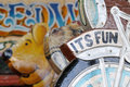 Retro fairground detail of an old ride with its fun lettering Stock Photos