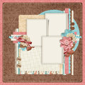 Retro family album.365 Project. Scrapbooking templates. Stock Photos