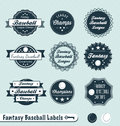 Retro Fantasy Baseball League Labels and Stickers Royalty Free Stock Photo