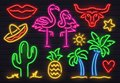 Retro fashion neon sign. Glowing fluorescent cactus, pink flamingo and bull signs. Bright palm, sombrero and pineapple