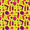 Retro fashion 80s - 90s stereos seamless pattern. Neon pop print in memphis stile. Electronic geometric background. Royalty Free Stock Photo