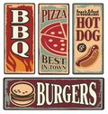 Retro fast food tin signs vintage metal collection with pizza burger hot dog and barbecue delicious backgrounds and Royalty Free Stock Image