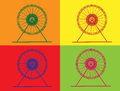 Retro ferris wheel with isolated background style pop art Stock Image