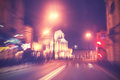 Retro filtered city traffic lights in motion blur Royalty Free Stock Photo