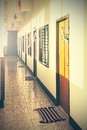 Retro filtered picture of an empty desolated motel Royalty Free Stock Image