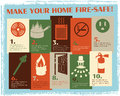 Retro Fire Safety Guide Royalty Free Stock Photo