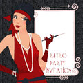 Retro flappper girl background with flapper party invitation design in s style Stock Image