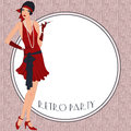 Retro flappper girl background with flapper party invitation design in s style Stock Images