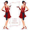 Retro flappper girl background with flapper party invitation design in s style Stock Photo