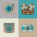Retro flat arts icon icons movie music and photography Royalty Free Stock Photos