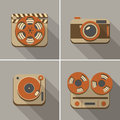 Retro flat arts icon icons movie music and photography Stock Photo